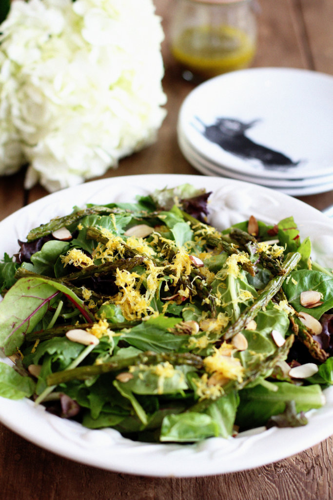 Field Green Salad with Roasted Asparagus, Toasted Almonds and Lemon Vinaigrette