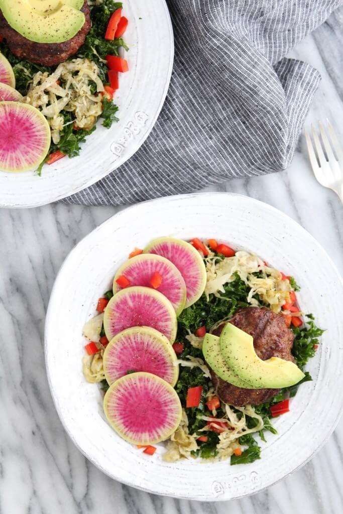 Massaged Kale Burger Salad: Jessi's Kitchen