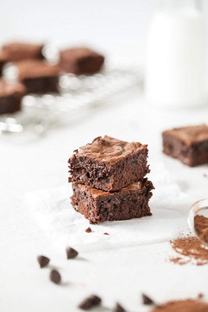 A stack of Fudgy Oat Flour Brownies: Jessi's Kitchen