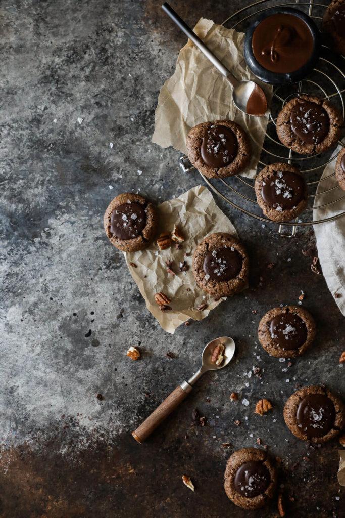 Chocolate Thumbprint Cookies with Tahini Fudge. Jessi's Kitchen