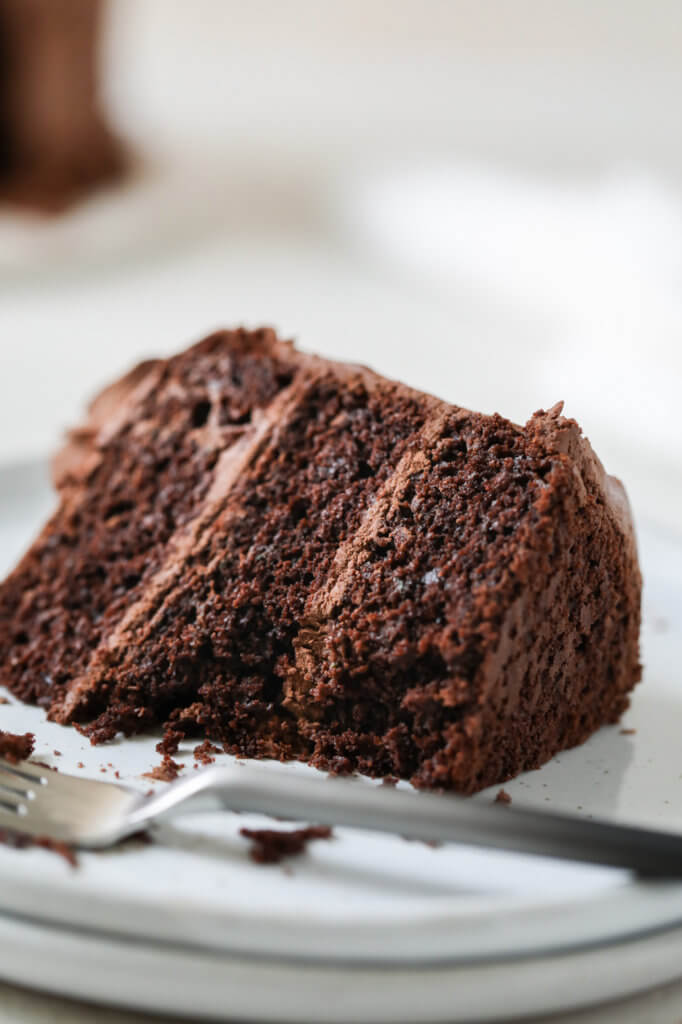 Close up picture of a chocolate zucchini cake with a bite taken out of it.