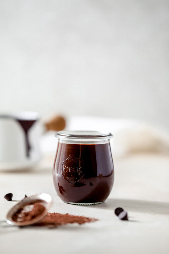An image of glass jar filled with dairy-free hot fudge sauce.